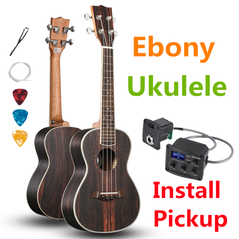 Ukulele 23 26 Inches Concert Ebony Mini Electric Acoustic Guitar 4 Strings Ukelele Guitarra Install Pickup stringed instrument