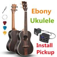 Ukulele 23 Inches Concert Ebony Mini Electric Acoustic Guitar 4 Strings Ukelele Guitarra Install Pickup stringed instrument