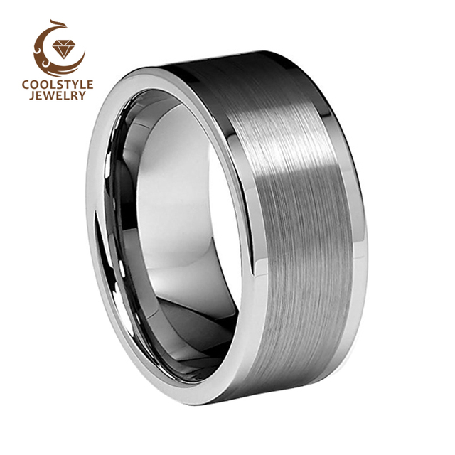 10mm Platte Pijp Geborsteld Gepolijst Randen Heren Wolfraamcarbide Wedding Band Engagement Ring Comfort Fit