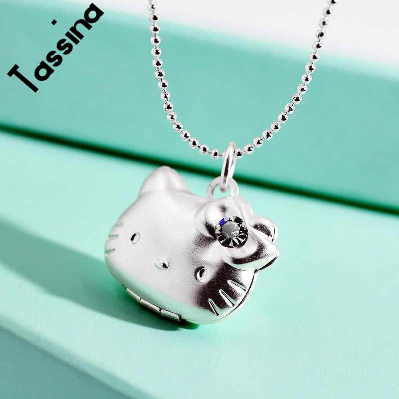 Colar de Cristal Colar de Pingente Foto Medalhão memória flutuante Tassina Gato Bonito Olá Kitty Para As Mulheres Homens Doce Memória MLY224N