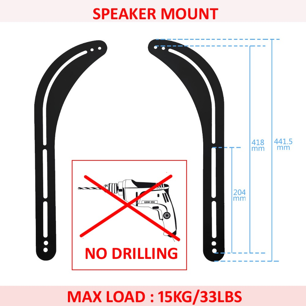 (1 PAIR)D-MOUNT SW-M4 no drilling 2 bar universal sound bar SPEAKER WALL BRACKET mount holder stand