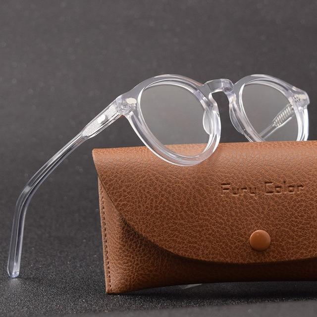 Smalj ラウンドハンドメイドアセテートフレーム女性眼鏡男性ゴーグル光学眼鏡デミ近視光学眼鏡近視