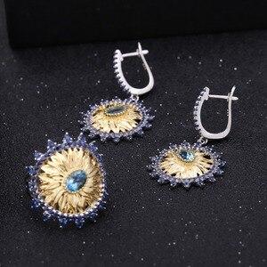 Image 2 - GEMS bale 2.2Ct doğal İsviçre mavi Topaz takı 925 ayar gümüş el yapımı ayçiçeği yüzük küpe takı kadınlar için setleri