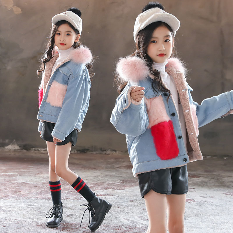 fashion warm thick girls denim jacket winter fleece jacket for little teenage girls woolen pockets jeans girls coats and jackets контактные линзы johnsonjohnson 1 day acuvue trueye 90 шт r 8 5 d 10 0