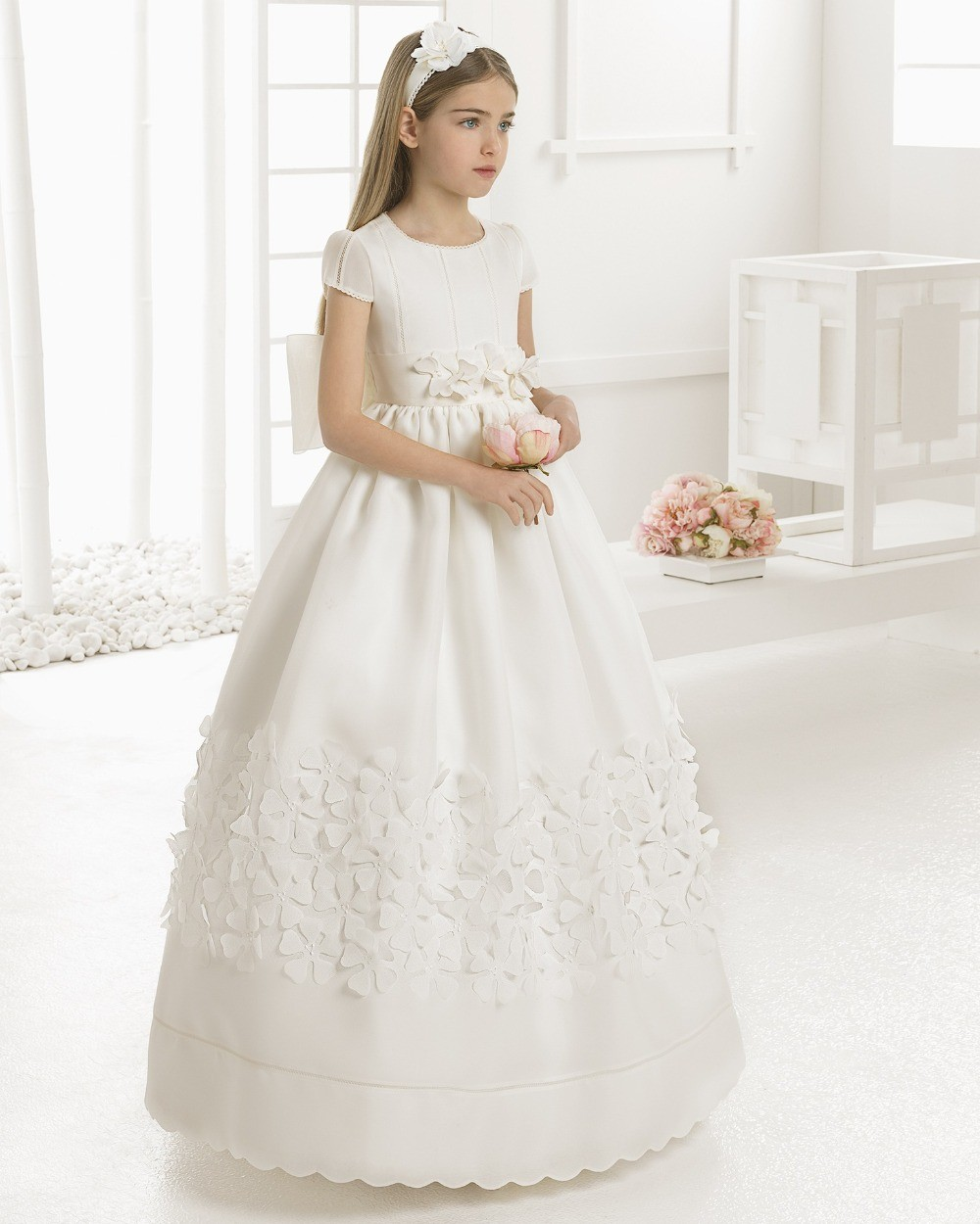 New   Girls   Party Gown White/Ivory First Communion   Dresses   Satin Short Sleeve   Flower     Girl     Dresses     Girls   Communion Gown Size2-14Y