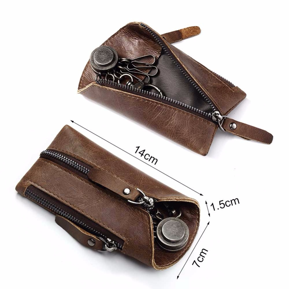 GZCZ Genuine Leather Wallet Men Fashion Mini Key Wallet Purse High Quality Zipper Pouch Small Vallet Portomonee Male Clutch