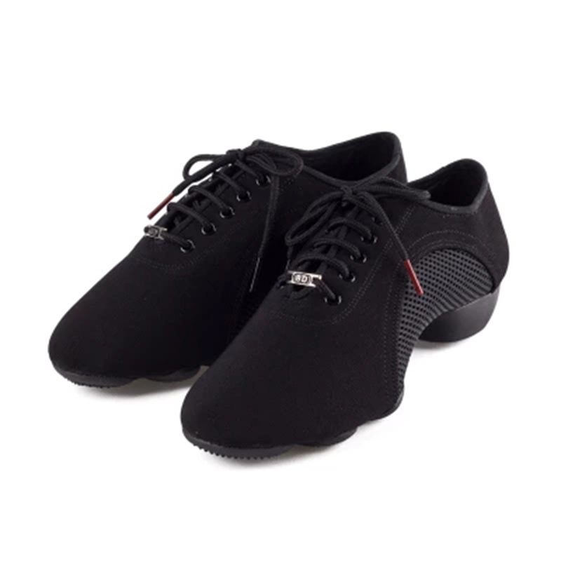 High-end asli BD Latin Dance shoes Oxford cloth Net surface Lelaki wanita kasut jazz Kasut guru Kasut tarian moden Black JW-1