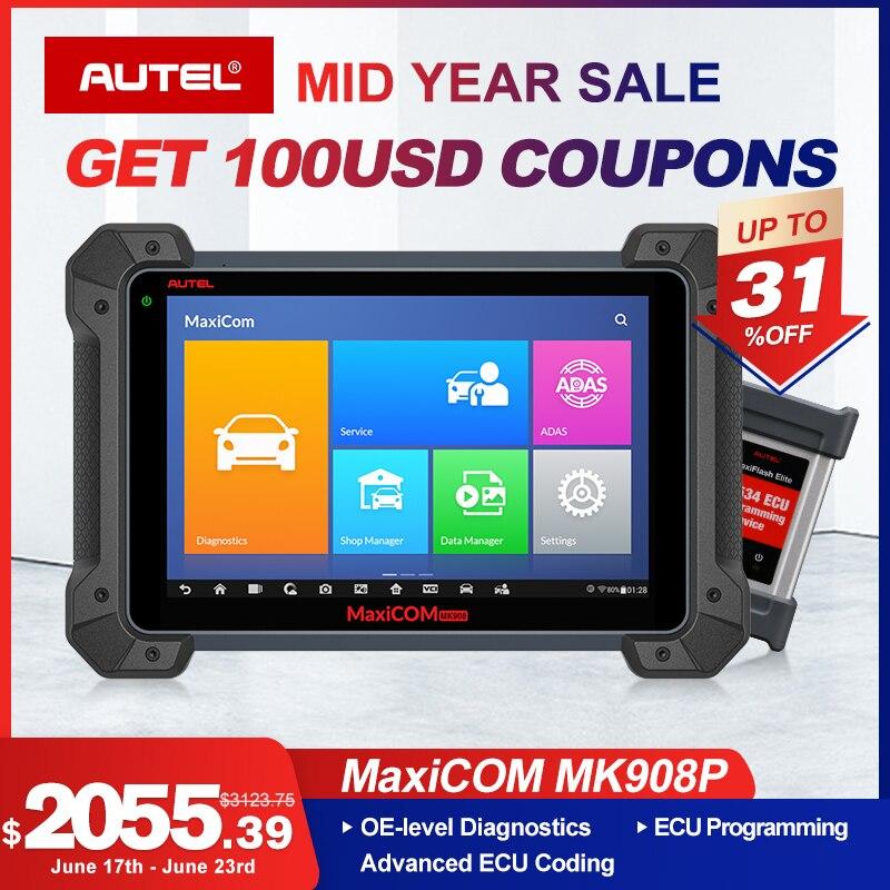 Autel MaxiCom MK908P OBDII ECU Tester Programming OBD2 Auto Diagnostic Scanner Tool J2534 Programmer PK Maxisys Elite MS908P Pro
