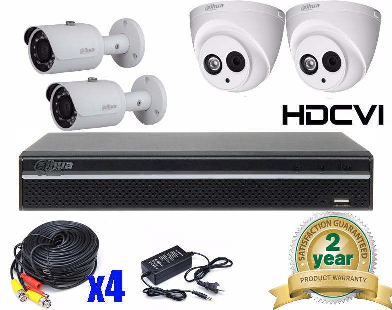Dahua 4 Ch HD Surveillance CCTV Full 1080P HD CVI/CVR Camera System DVR Kit 4Ch 4*1080P IR 20M Indoor HDCVI Dome Camera System