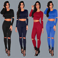 Sexy Two pieces Rompers Women Jumpsuit 2017 New Women Bodycon Jumpsuit O Neck Long Sleeve Fashion Club Bodysuit Bandage Jumpsuit