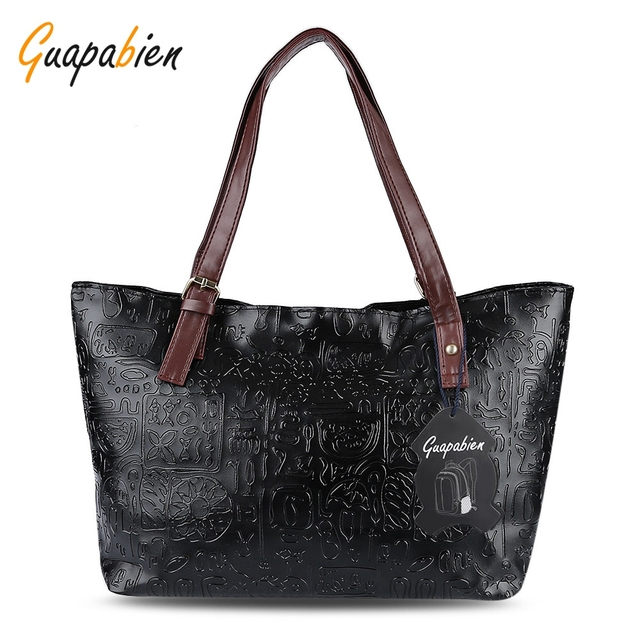 Guapabien Casual Style PU Leather Hieroglyphic Print Tote Bag Solid Color  Multi Purposes Ladies Patchwork Women 9a6f88432aec1