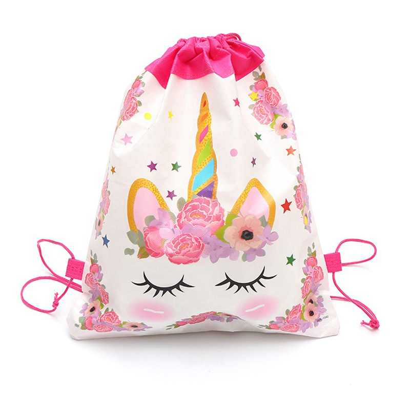 Unicorn Cartoon Nylon Fabric Drawstring Bags Football Backpack Baby Shower Happy Birthday Party Decoration Supplie 34cm*27cm