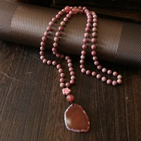 WEIYU ורוד מחרוזת תפילה אבן טבעית 8 מ
