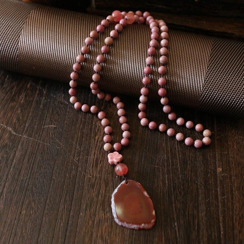 WEIYU mode 8mm rose pierre naturelle chapelet chaîne pendentif Mala collier fait à la main femmes pierre naturelle perle collier bijoux