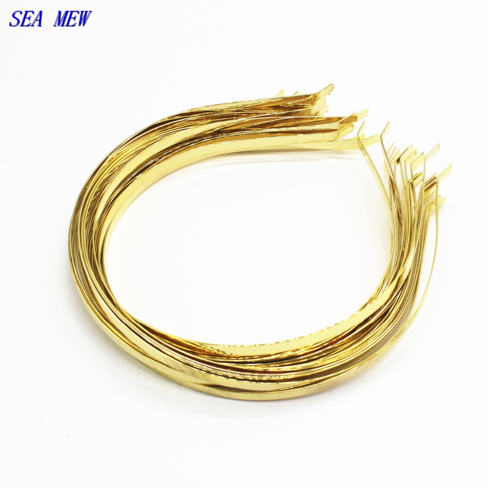 SEA MEW Metal Steel Headband Gold Color 4.5mm-5mm Hair Band Hairwear Base Setting DIY Head Jewelry Bijoux De Tete For Women ...