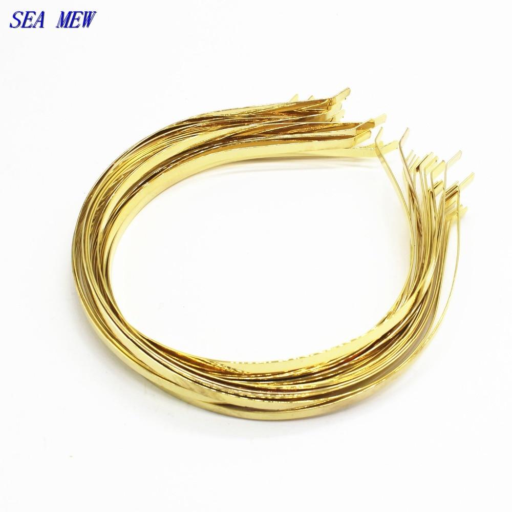 SEA MEW Metal Steel Headband Gold Color 4.5mm-5mm Hair Band Hairwear Base Setting DIY He ...