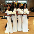 2017 Дешевые Белый Длинный Платья Невесты Русалка Нигерии Платья Для Подружки Невесты Свадебный Гость Платья robe красавка почетного легиона