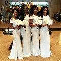 2017 Barato Branco Longo Vestidos de Dama de honra Da Sereia Vestidos Para Damas de Honra Vestidos de Convidado Do Casamento Nigéria robe demoiselle d'honneur