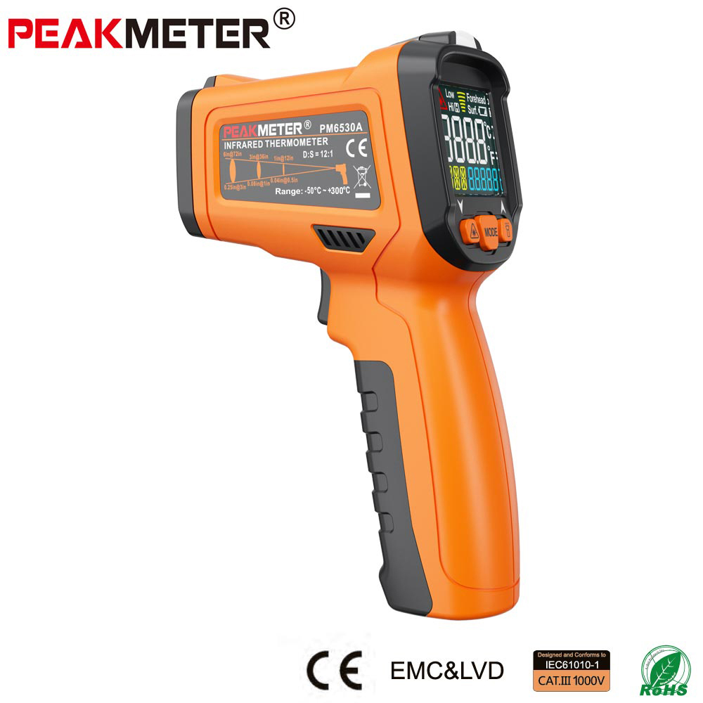 Official PEAKMETER PM6530A  Laser LCD Digital IR Thermometer Temperature Meter Gun Point -30~300 Degree Non-Contact Thermometer benetech lcd digital infrared thermometer pyrometer laser point temperature gm300 meter free shipping