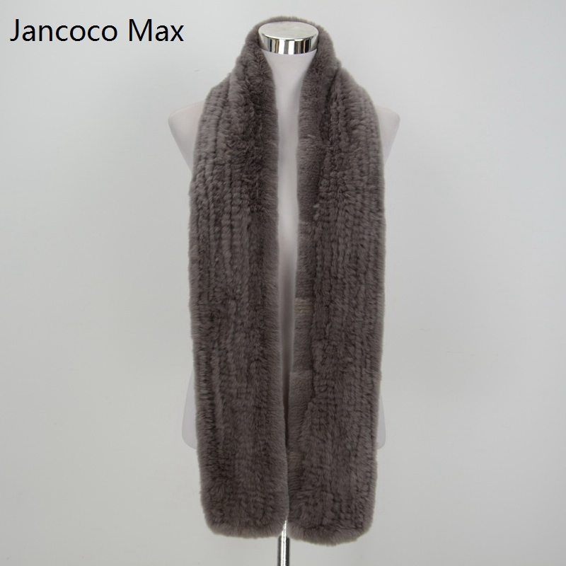 Jancoco Max* S1577 Thick Knitted Ladies Real Rex Rabbit Fur Long Scarf Women's & Men Winter Neck Warm Neckerchief Shawl
