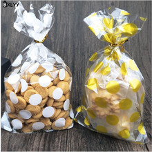 BXLYY New 20pc13 X 21cm White Gold Dot Bag Biscuit Gift Party Supplies Candy Food DIY Handmade Soap Year Bag.7z