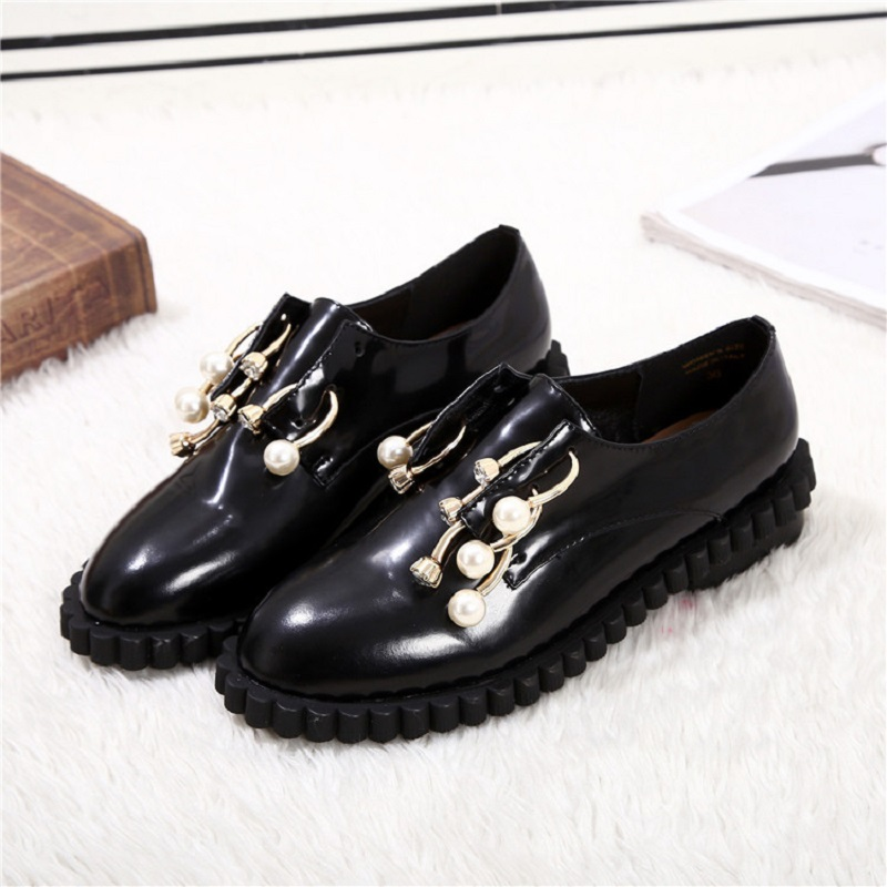 Best Selling Harajuku Patent Leather Shoes British Round Head Lok Fu Shoes Student College Pearl Thick Bottom British Deep Mouth кровать из массива дерева furniture in the champs elysees
