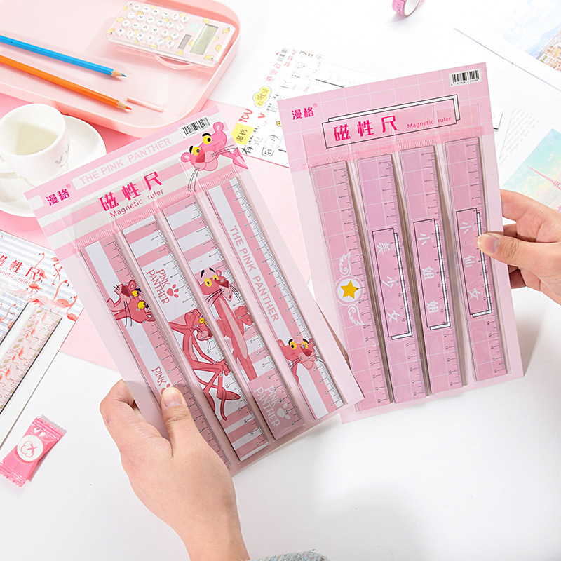 18cm Magnetic Flamingo Straight Ruler Kawaii Pink Panther Template Scale For Drawing Korean Stationery Office School Supplies