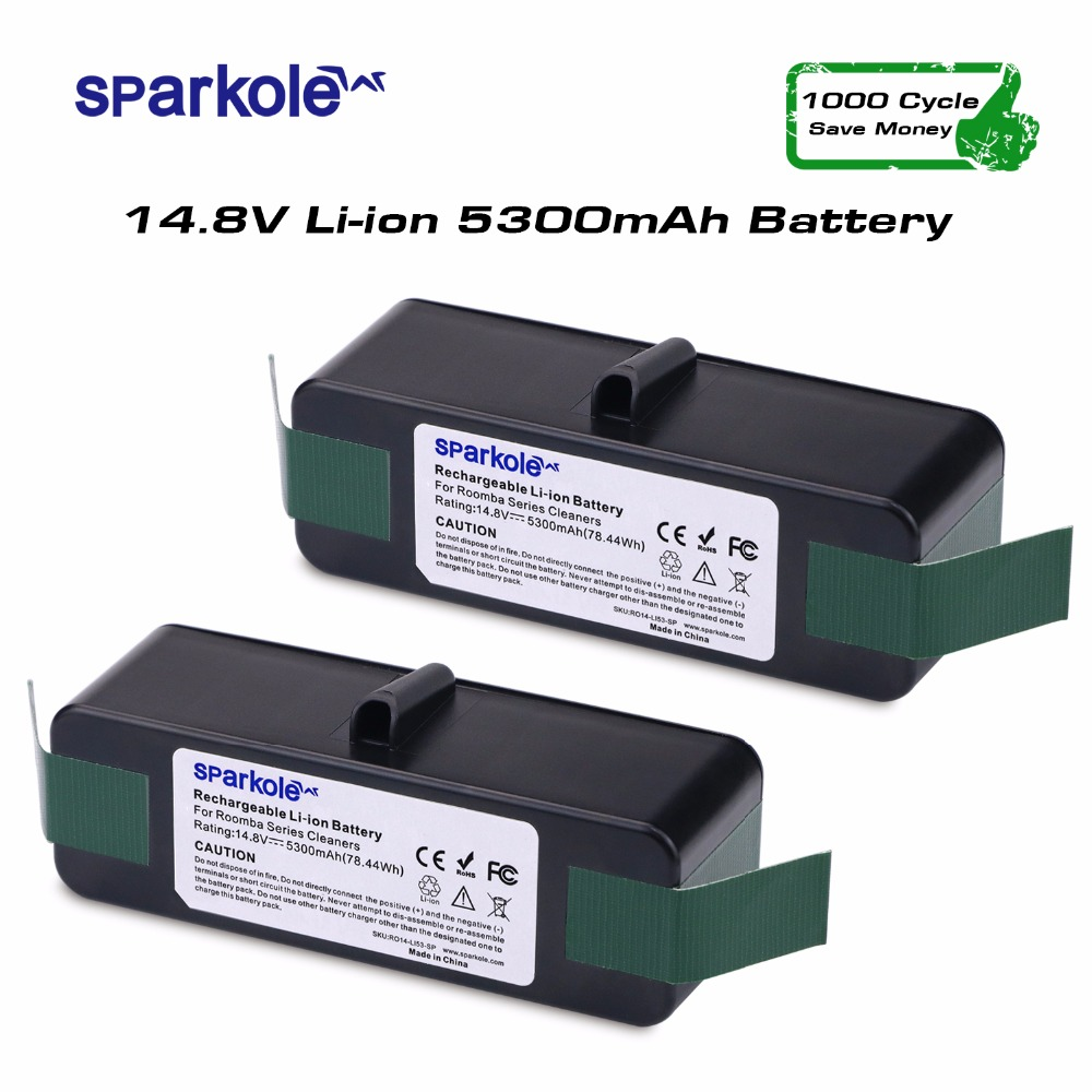 Sparkole 2pcsx 5300mAh 14.8V Lithium Rechargeable Battery for iRobot Roomba 500 550 560 600 650 700 800 900 Vacuum Cleaner бензиновая виброплита champion pc9045f