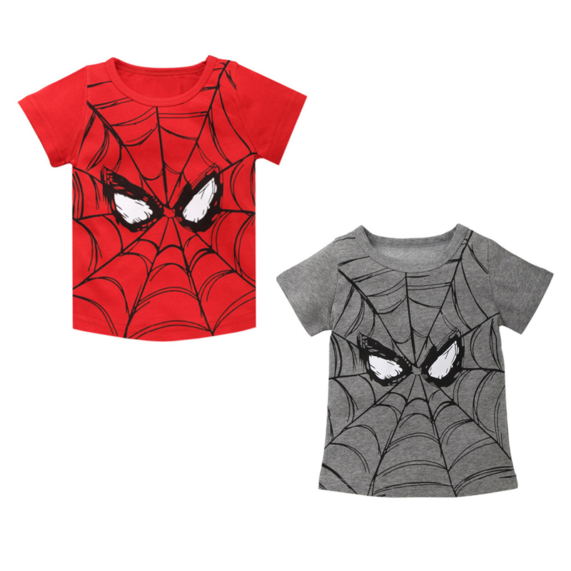 T-Shirts Kids Tops Spider-Man Girls Boys Children Short-Sleeve Baby Summer