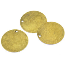 10Pcs Bronze Tone Round Blank Stamping Tags Charms Pendants 20mm(6/8) Dia.