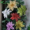 10 piezas 6 ''(15 cm) Flor Artificial hueca brillante para la decoración de la fiesta de cumpleaños de los niños decoración de Navidad de Año Nuevo para la Navidad del hogar