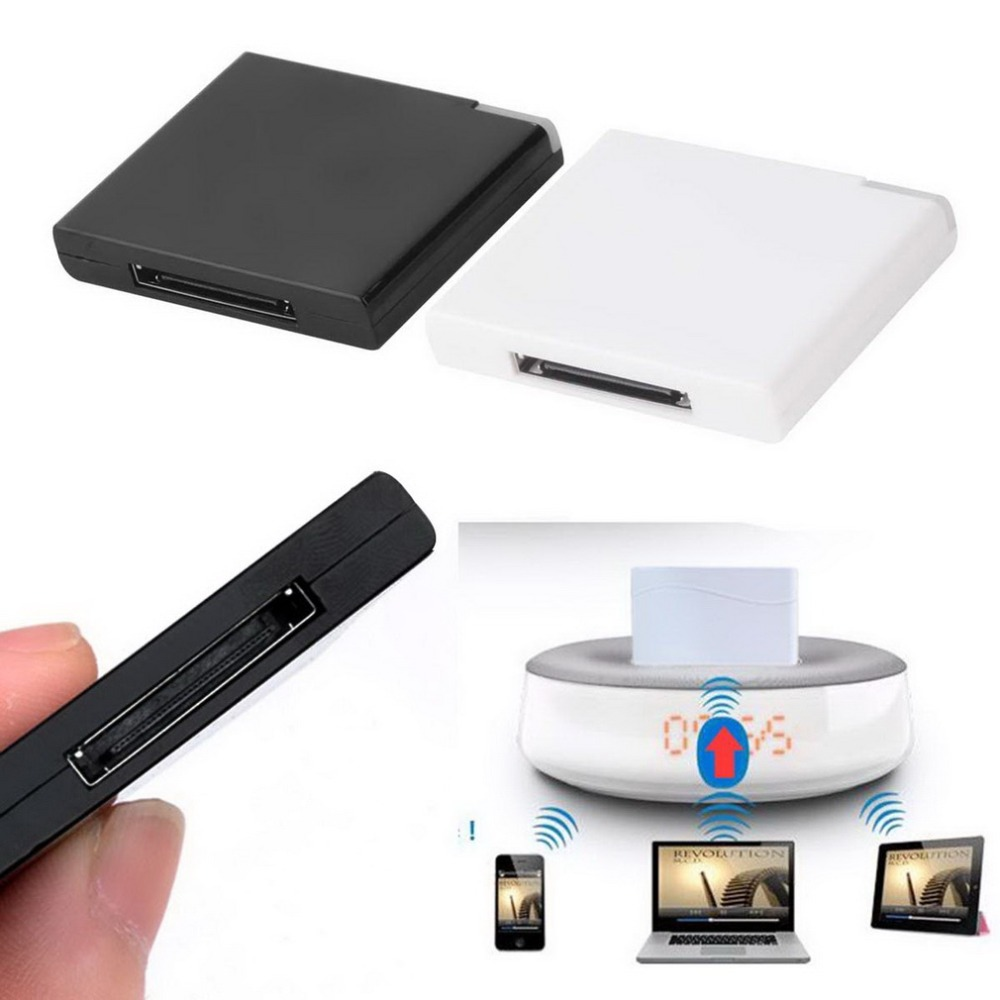 White Color Bluetooth V2.0 A2DP Music Receiver Adapter 1 LED For IPod For IPhone 30 Pin Dock Docking Station Speaker