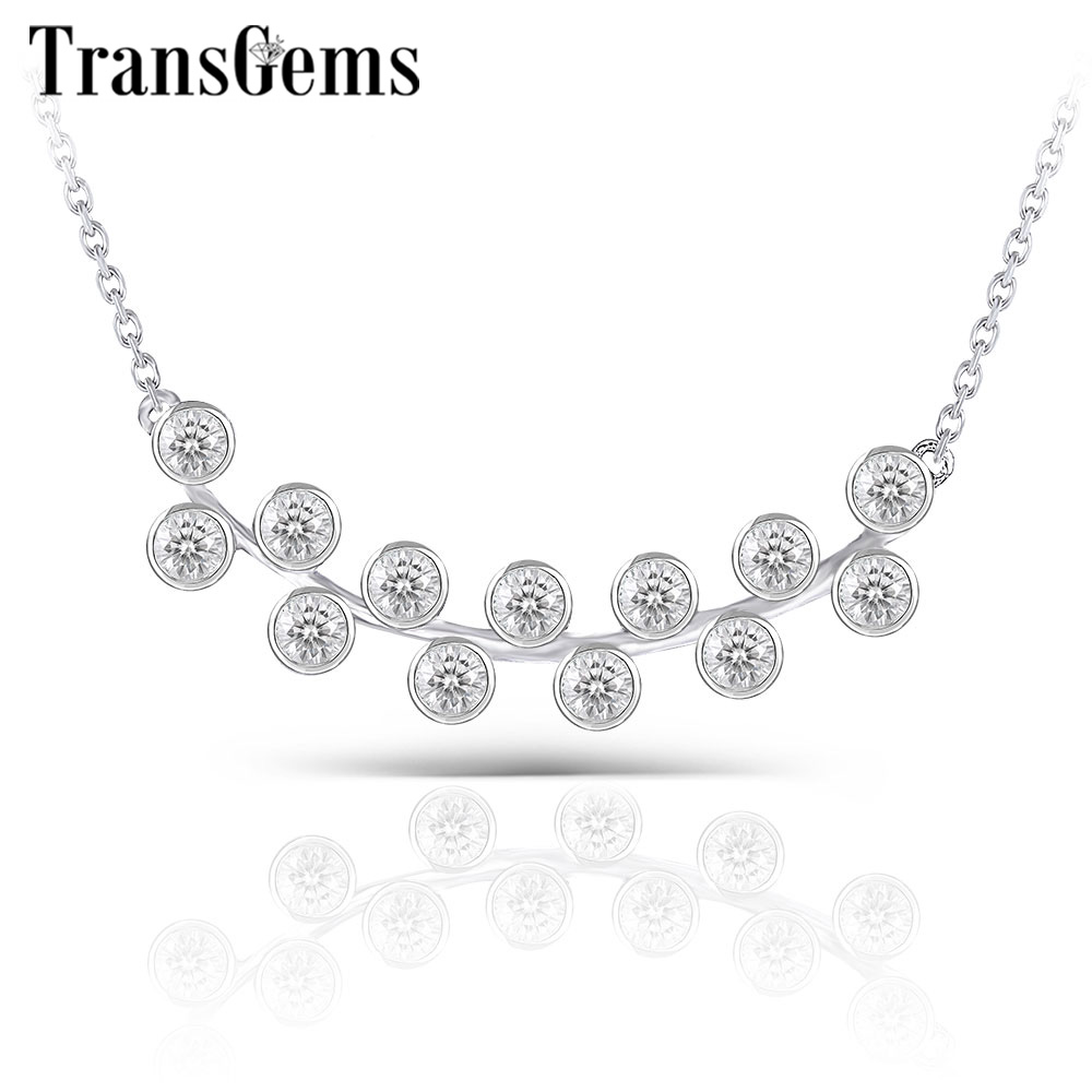 Transgems 10K White Gold 13pcs 2mm F Colorless Moissanite Pendant Necklace For Women Birthday Wedding Gifts