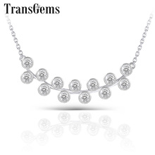 Transgems 10K White Gold 13pcs*2mm F Colorless Moissanite Pendant Necklace For Women Birthday Wedding Gifts Fine Jewelry
