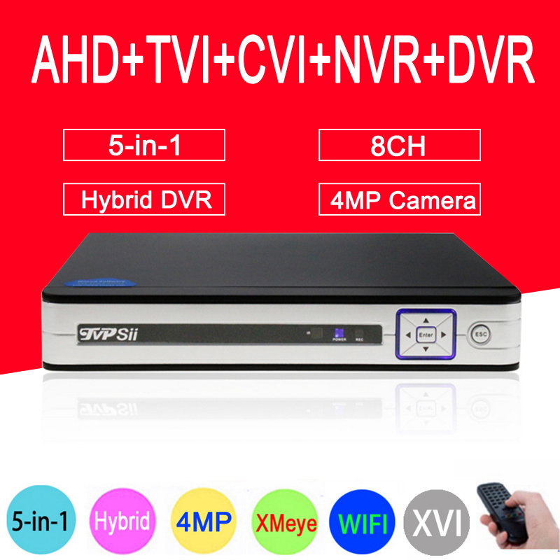 Silver White Panel XMeye HiSilicon Chip 4MP 8CH Surveillance Hybrid Coaxial 5 in 1 TVI CVI NVR AHD CCTV DVR Free Shipping