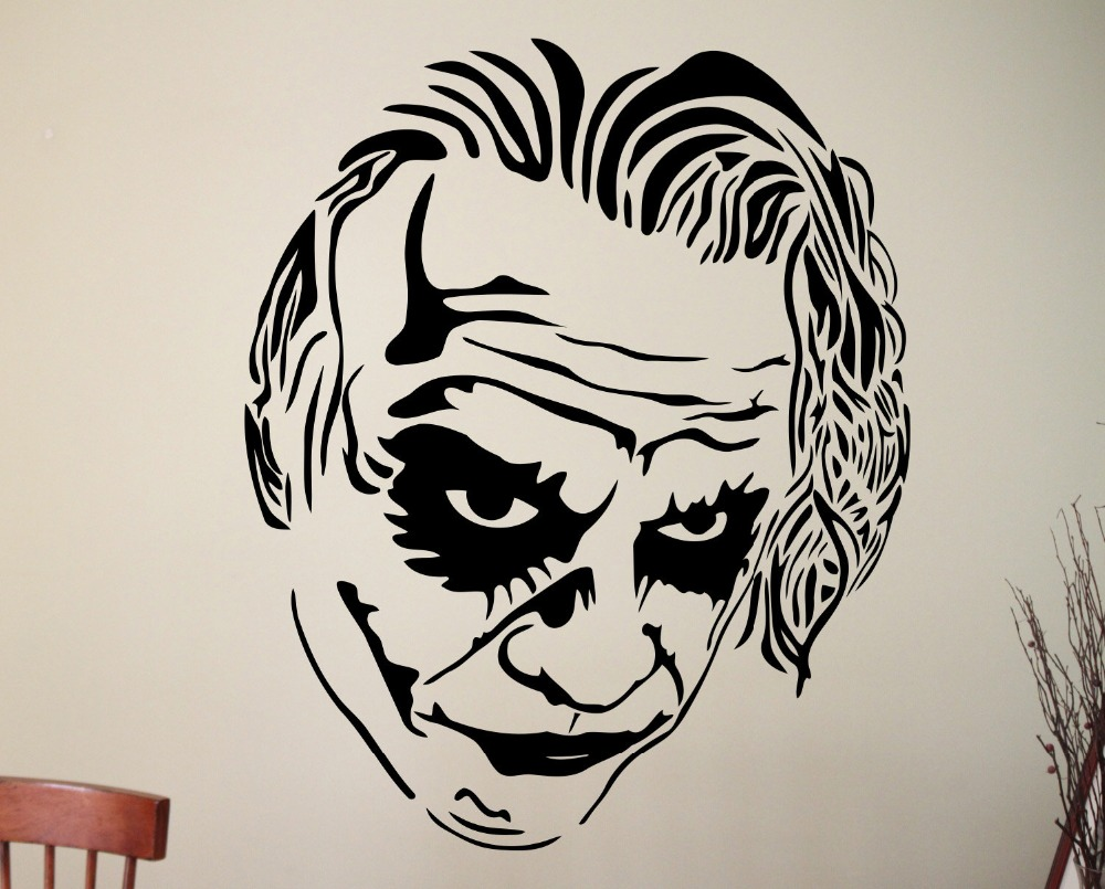 Cool handsome joker face wall sticker famous comic character superhero jokers head creative vinyl wall decals home decor w 108 cool home decor olivia