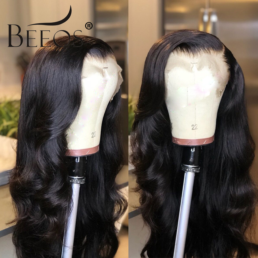 BEEOS средства ухода за кожей волна 360 синтетический Frontal шнурка волос парик бразильский Remy человеческие волосы Искусственные парики с