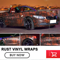 OPLARE 1.52*20m/30m /roll Iron Rust Sticker Bomb Decal Vinyl Sheet Adhesive PVC Stickers For Car size Arbitrary