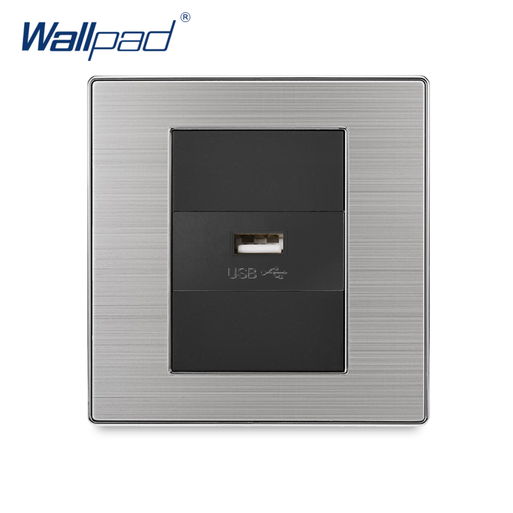 2018 Wallpad Single USB Charge Port For Mobile 5V 1000mA Output Luxury Wall Power Charger Stainless Steel Satin Metal Panel thunder charge 25w 4 port usb wall charger travel charging hub