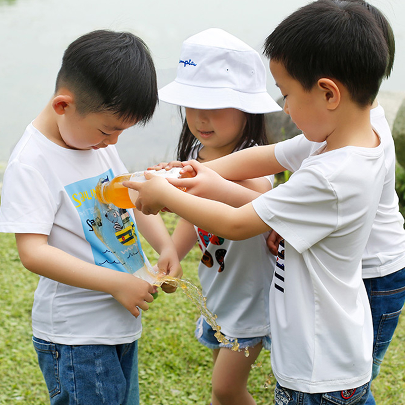 Beverry Waterproof Boys and Girls T Shirt Antifouling Quick Try Family Matching Outfits Solid Print Short Sleeve Kids Tee Shirt