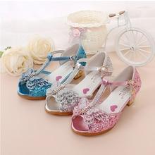 Гарячий продаж дитячих взуття Crystal Bow блискучі високі підбори принцеса взуття дівчата рибний рот сандалії взуття на підборах для дітей
