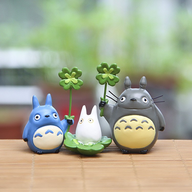 New 3pcs/set My neighbor totoro hayao miyazaki clovers DIY portfolio PVC doll toys for children