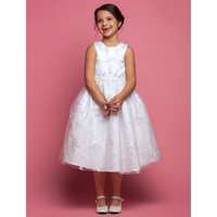 LAN TING BRIDE A-Line Tea Length Flower Girl Dress - Lace Sleeveless Jewel Neck