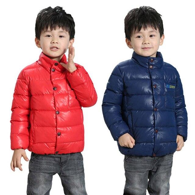 2017 новые зимние теплые дети пуховик, чистый цвет моды хлопка куртки, дети теплый мальчик пуховик