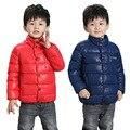 2017 El nuevo invierno cálido niños chaqueta abajo, chaqueta de algodón de moda color puro, de los niños calientes chico abajo chaqueta
