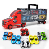New Die Casting Alloy Car Model Toy Metal Material Car Big Truck Container 12 Piece Small Alloy Car Child Imagination Toy