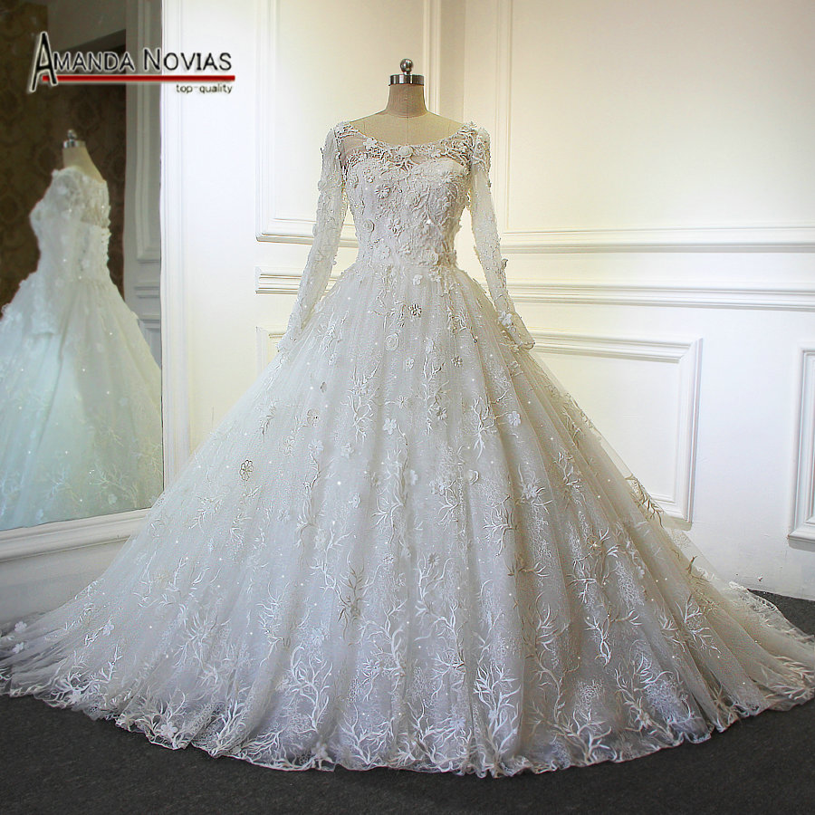 2017 Hot Sale Overlay Lace Long Sleeve Ball Gown Wedding Dress With ...