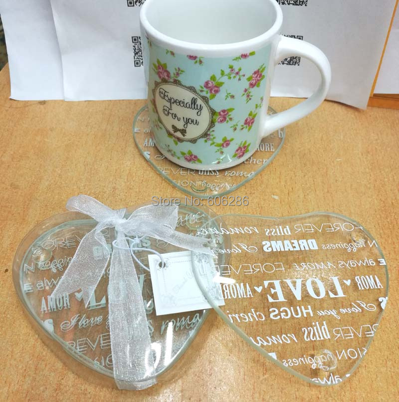 2pcs/set heart Love letters Glass Coaster Cup Mat Wedding Return Gifts Birthday Party Favor