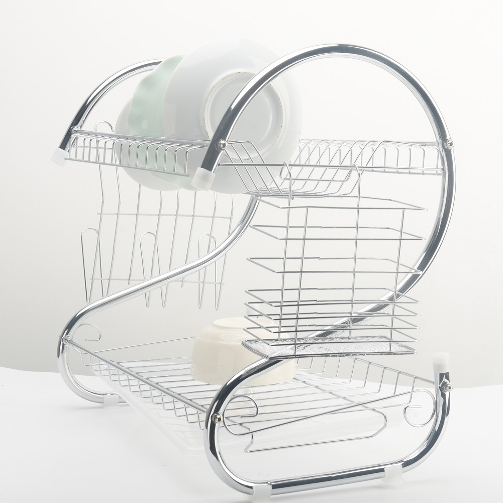 Image 3 - 2 Tiers Dish Drying Rack Holder Basket Plated Iron Home Washing Great Kitchen Sink Dish Drainer Drying Rack Organizer-in Racks & Holders from Home & Garden