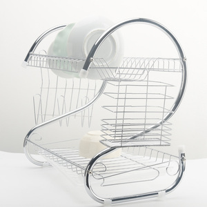 Image 3 - 2 段食器乾燥ラックホルダーバスケットメッキ鉄ホーム洗濯偉大なキッチンシンク水切り乾燥ラックオーガナイザー